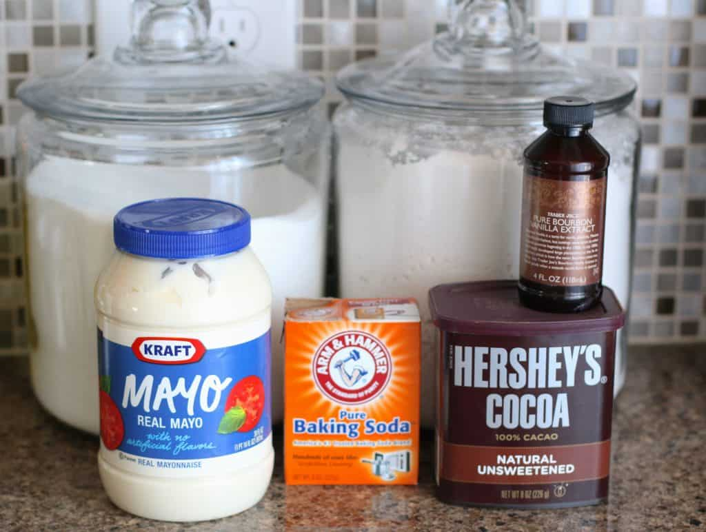all-purpose flour, sugar, unsweetened baking cocoa, baking soda, mayonnaise, vanilla extract