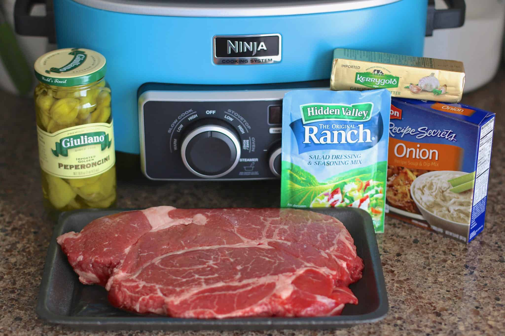 ingredients needed to make Mississippi Pot Roast: chuck roast, olive oil. salt and pepper, ranch dressing mix, dry onion soup mix, salted butter, pepperoncini peppers