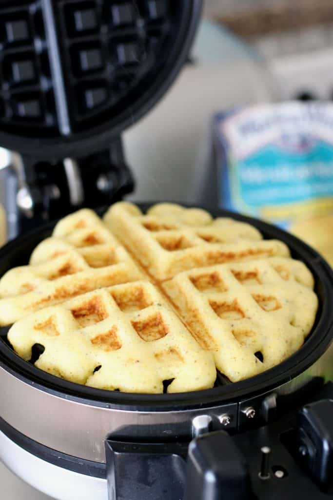 Cornbread Waffles with Chili and Fixins