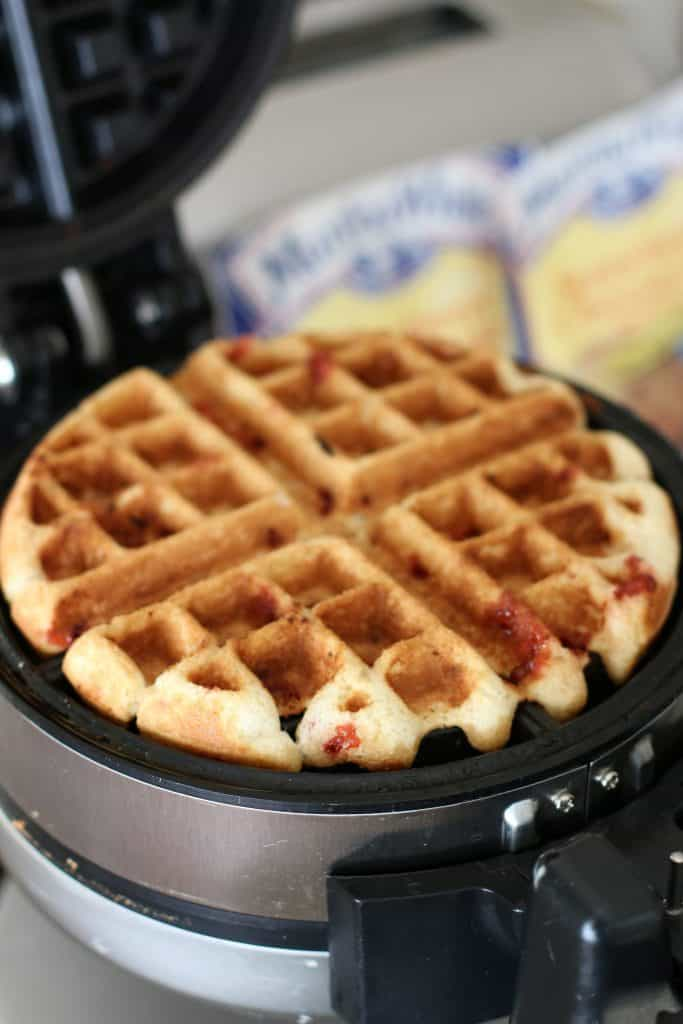 golden brown strawberry muffin mix waffles