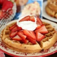 Strawberry Muffin Mix Waffles with whipped cream