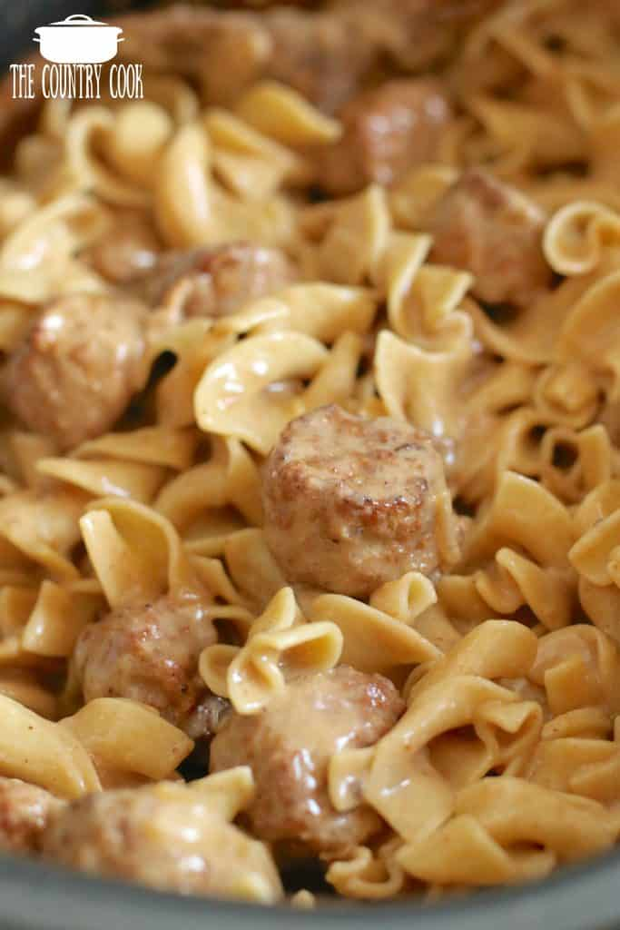 Crock Pot Swedish Meatballs, sauce and cooked egg noodles