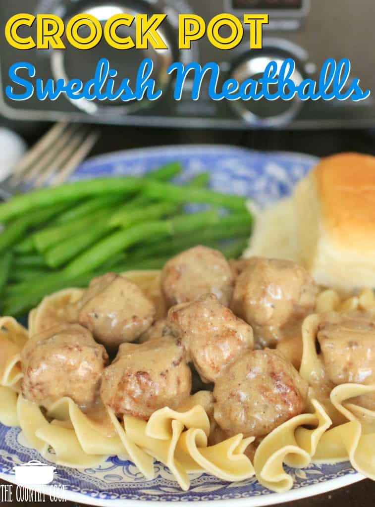 Crockpot Swedish Meatballs recipe in sauce with egg noodles