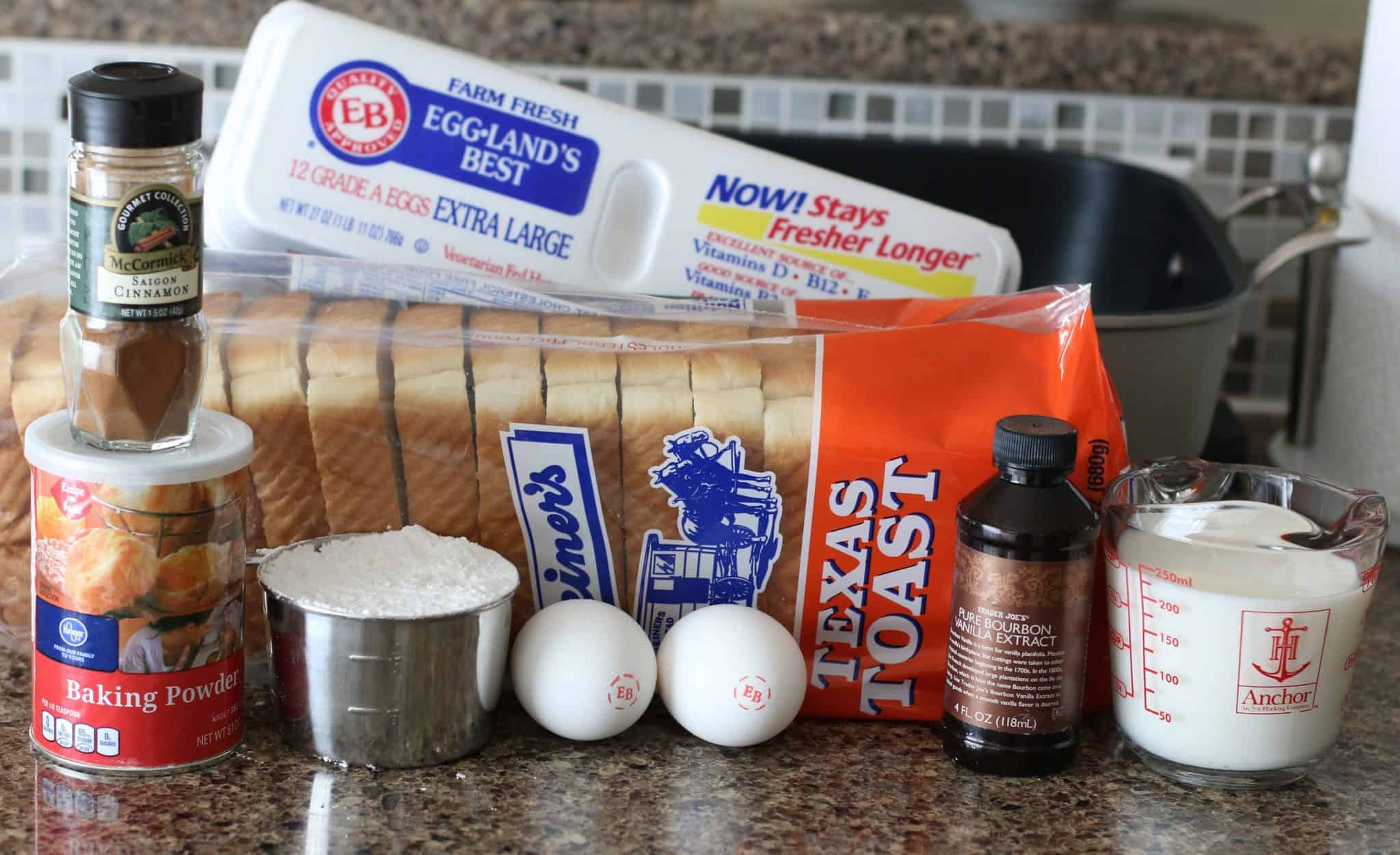 ingredients needed to make fluffy French toast: Texas toast, eggs, cinnamon, vanilla extract, milk