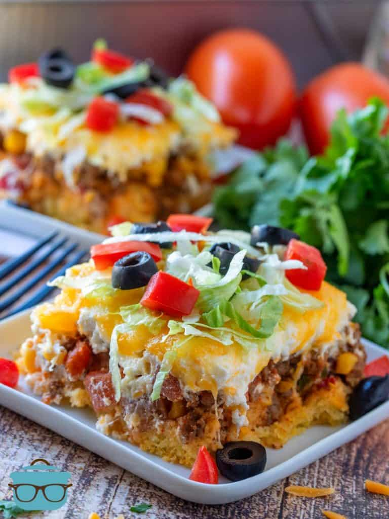 Easy Cornbread Mexican Casserole - two slices shown on two plates with forks