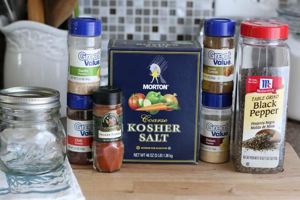 chili powder, onion powder, ground cumin, garlic powder, smoked paprika, kosher (or sea) salt, black pepper