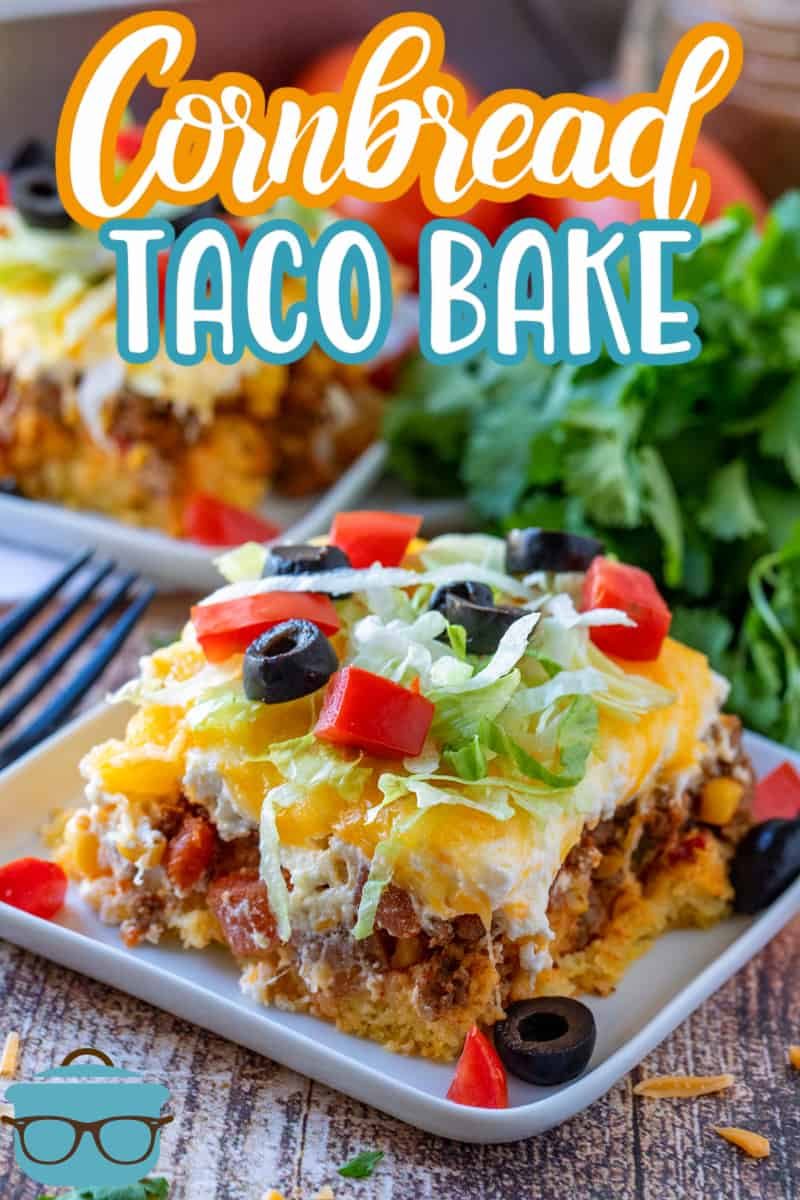 Cornbread Taco Bake is a cornbread base topped with seasoned ground beef, a creamy filling and topped with melted cheese! So good!