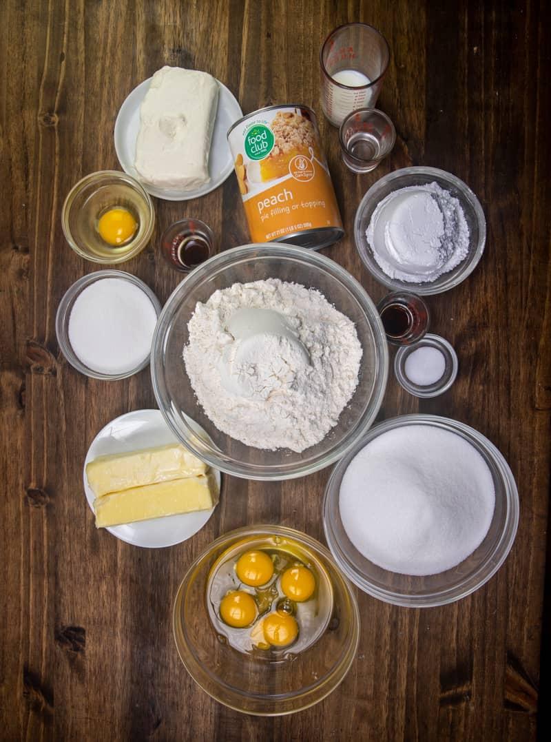 butter, sugar, eggs, vanilla extract, all-purpose flour, salt, peach pie filling, cream cheese.