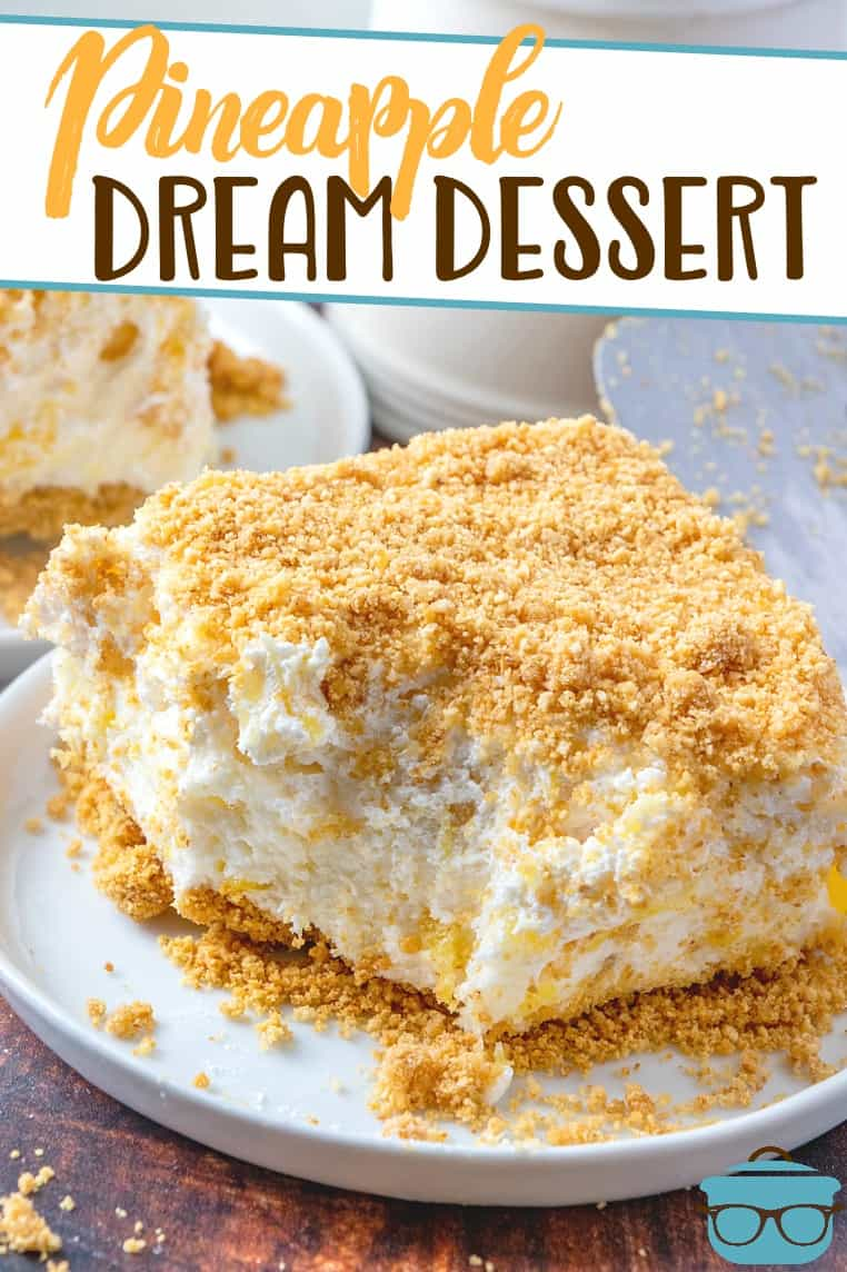(Almost) No-Bake Pineapple Dream Dessert is a delicious summer dessert! Cream cheese, pineapple, whipped topping and graham crackers - so simple!