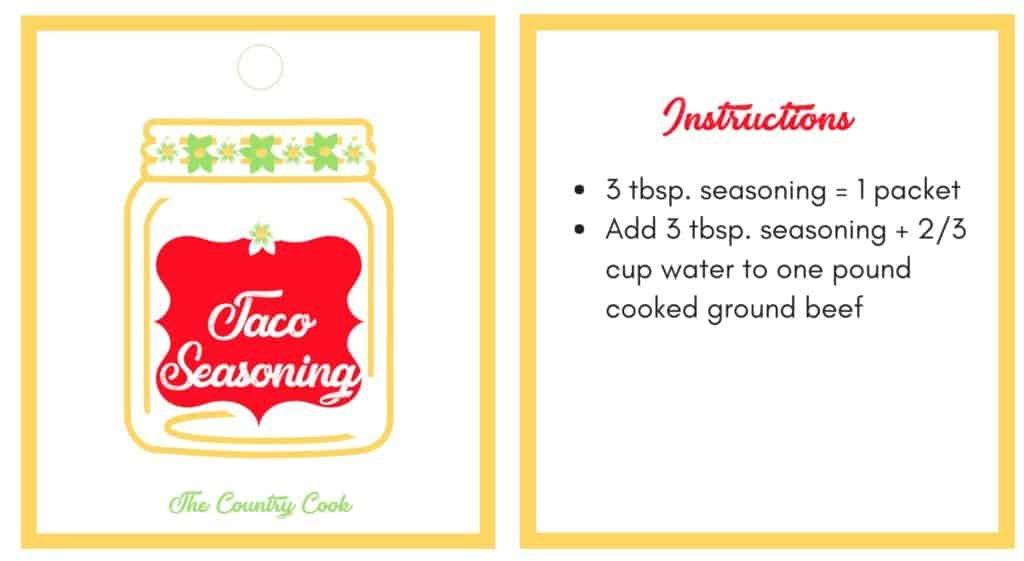 Taco Seasoning Printable