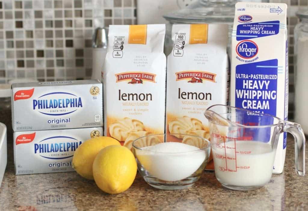 Pepperidge Farm Lemon Cookies, cream cheese, heavy whipping cream, milk, sugar, lemons