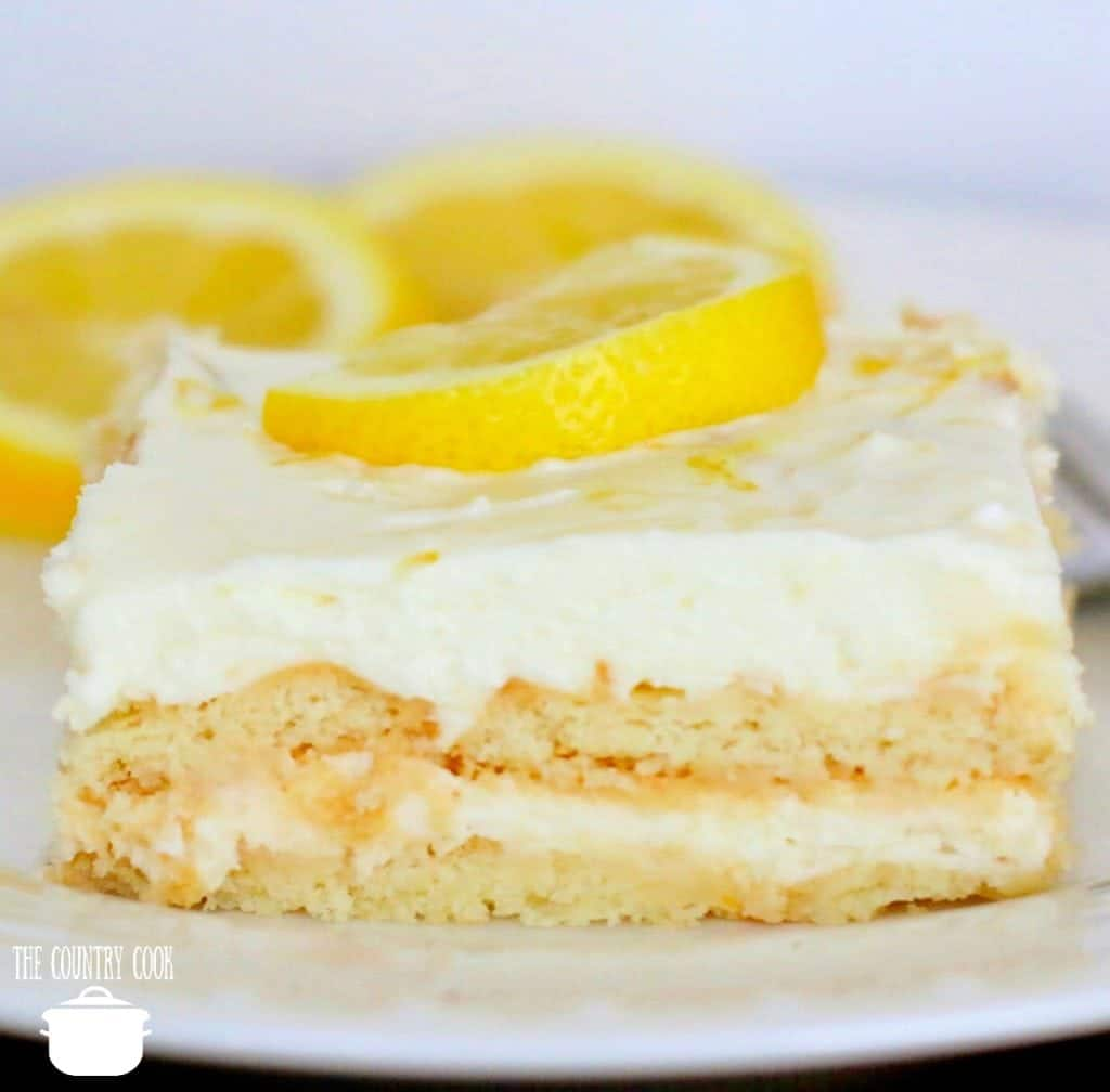Lemon Icebox Cake, slice on a white plate