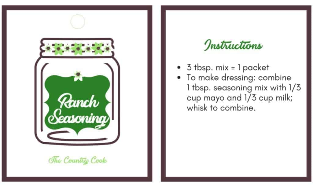 Ranch Seasoning printable