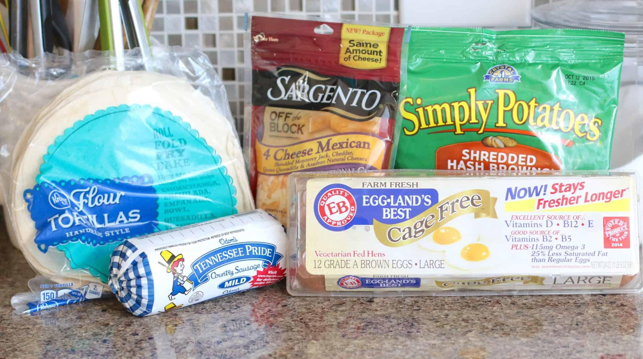 flour tortillas, eggs, cheese, sausage, hash browns.