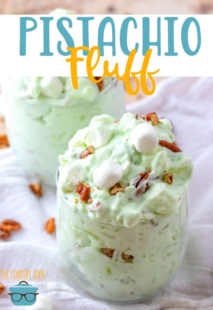 No-Bake Pistachio Fluff (a.k.a. Watergate salad) recipe from The Country Cook. Serving shown in two stemless wine glasses.