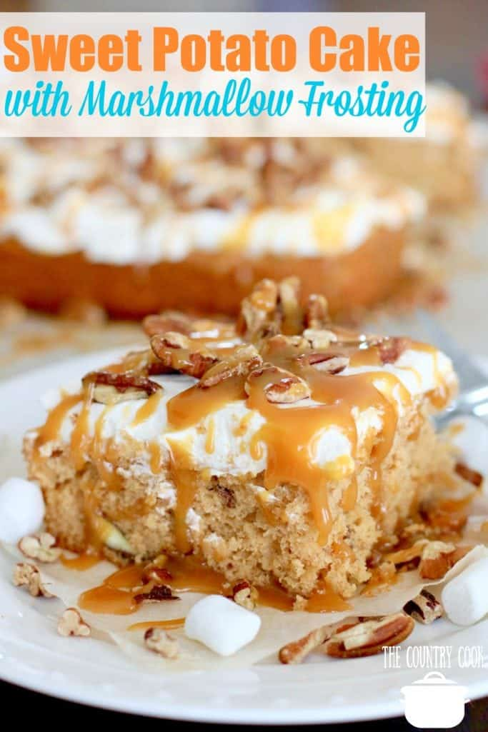 Sweet Potato Cake with Marshmallow Frosting drizzled with salted caramel