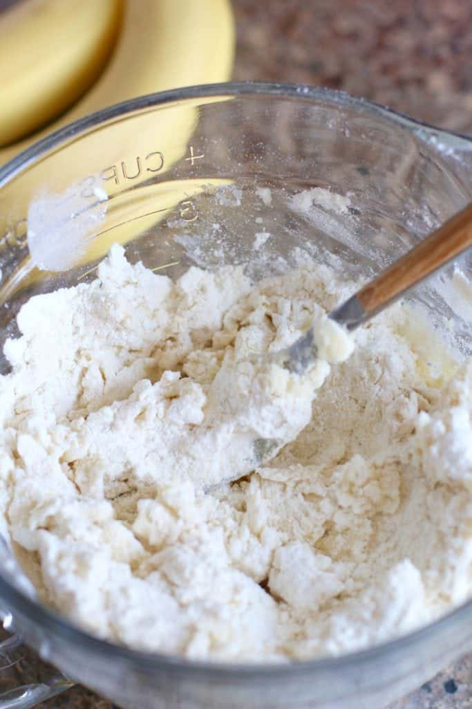 butter and flour added together in a glass bowl