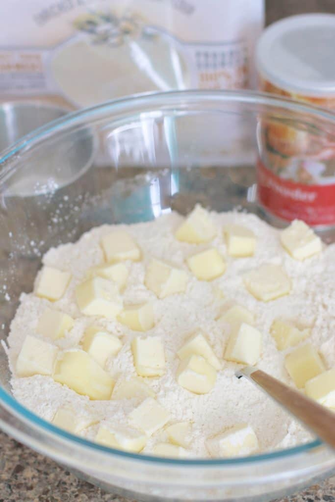 cubed butter in flour