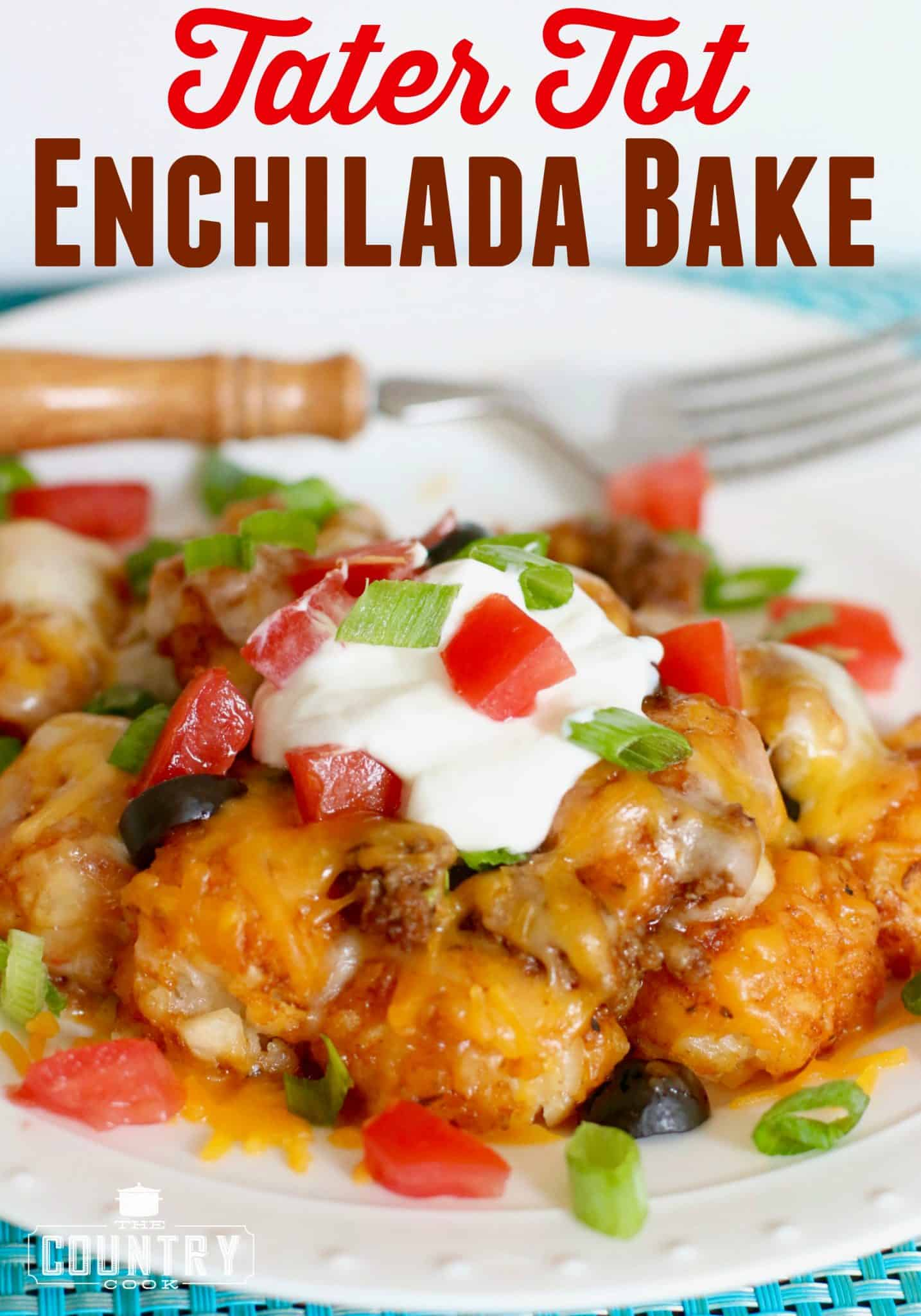main image for Tater Tot Enchilada Bake shown on a white plate and topped with sour cream, diced tomatoes and sliced green onions.