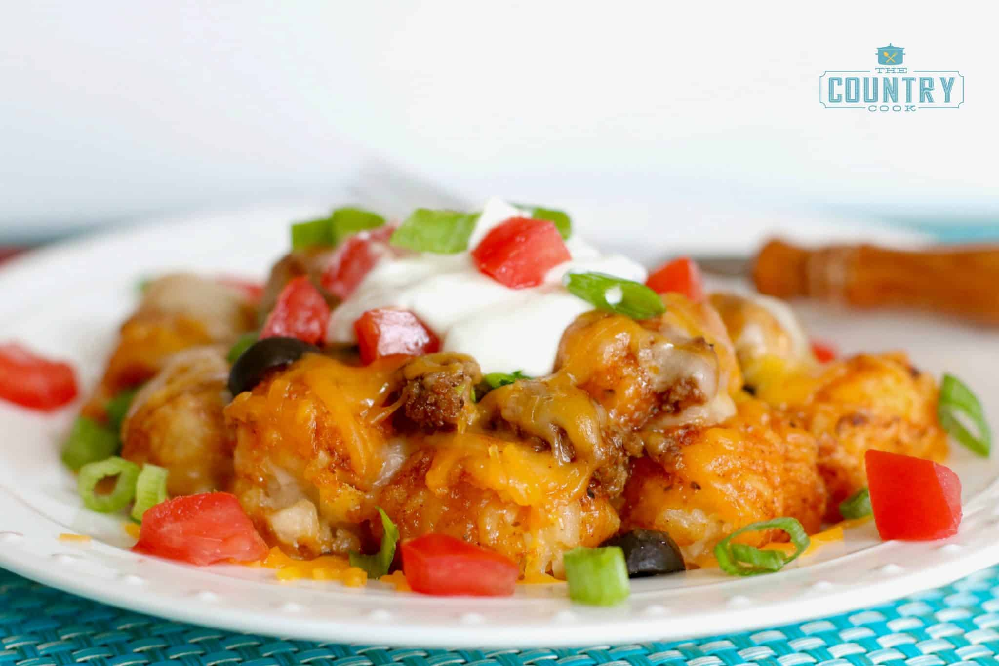 Tater Tot Enchilada Bake serving shown on a round white plate.