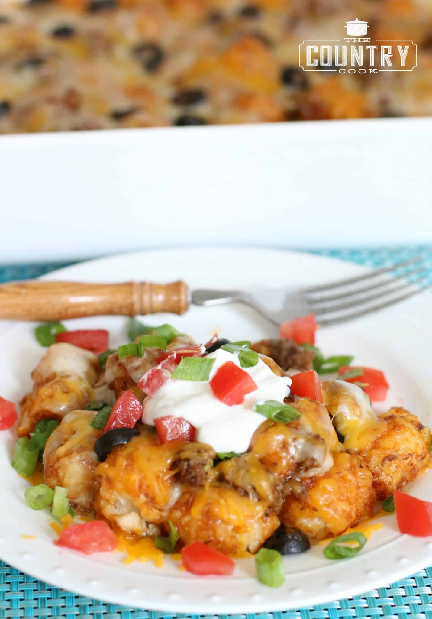 Tater Tot Enchilada Casserole served on a white plate, topped with sour cream, sliced green onions and diced tomatoes.