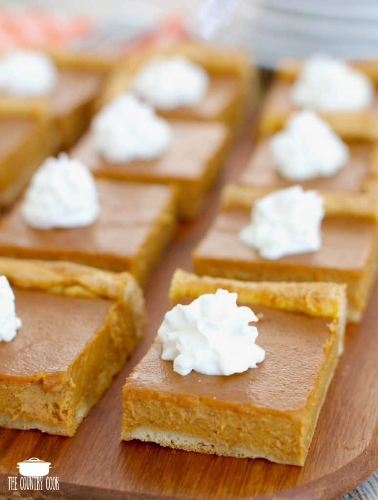 Crescent Dough Roll Pumpkin Pie Bars with whipped cream
