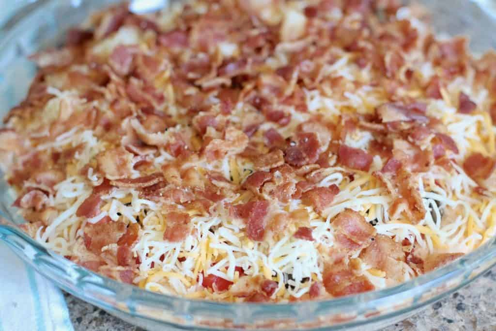 crumbled bacon topped jalapeno popper dip