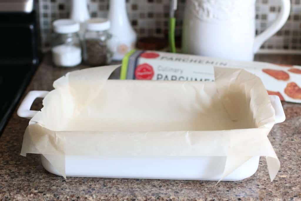 natural parchment paper lined baking dish