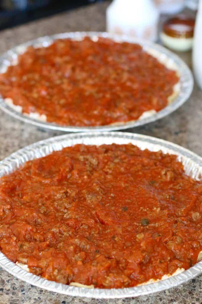 Friendship Spaghetti Pie with sauce