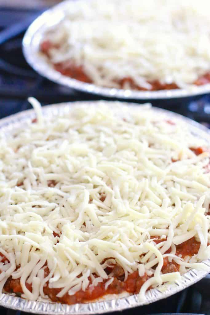Spaghetti Pie with mozzarella cheese