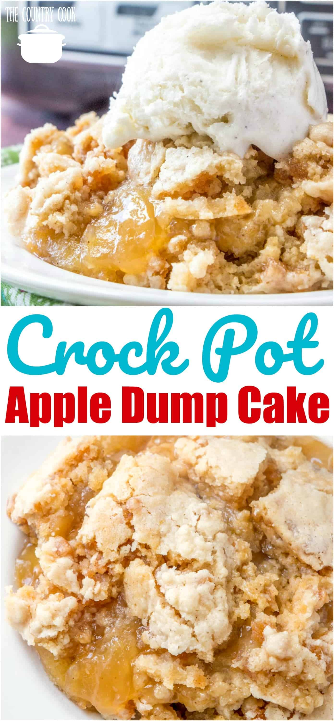 Easy Crock Pot Apple Dump Cake recipe from The Country Cook #desserts #recipes #ideas #muffinmix #crockpot #slowcooker #applepiefilling #apple