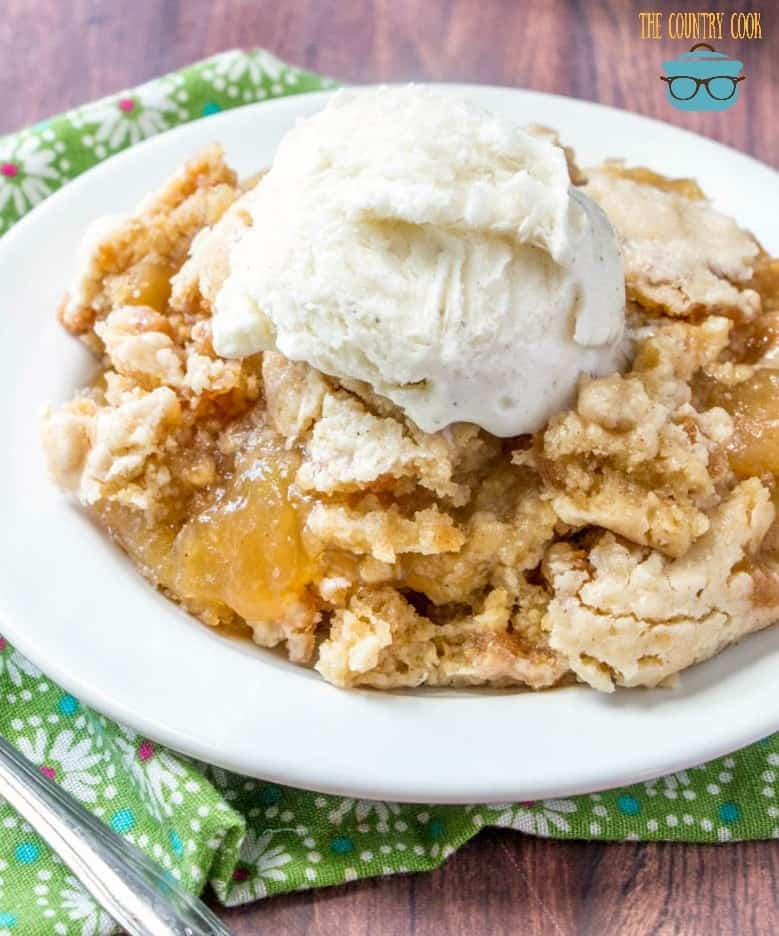 Crock Pot Apple Dump Cake with vanilla ice cream