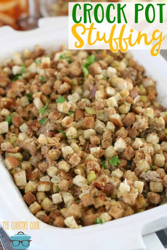Crock Pot Sausage Stuffing recipe from The Country Cook #Thanksgiving #sidedish