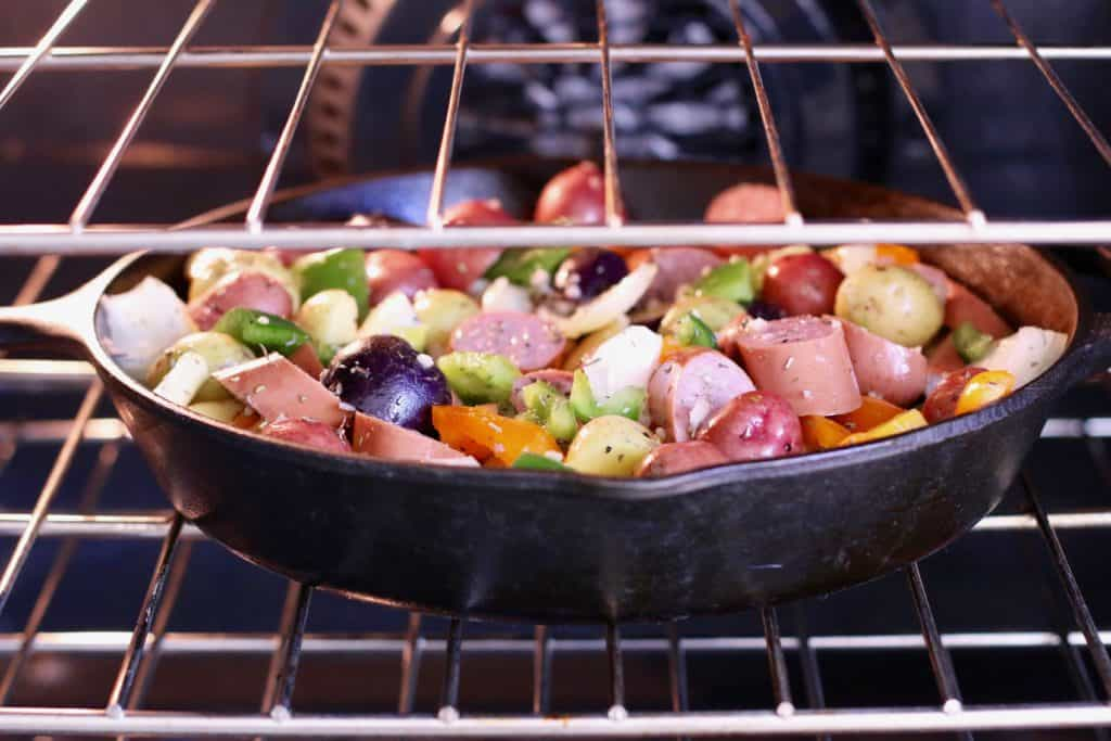 one pan sausage and potatoes in skillet