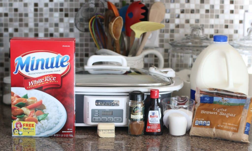 crock pot, minute rice, milk, cinnamon, sugar, butter, vanilla, brown sugar