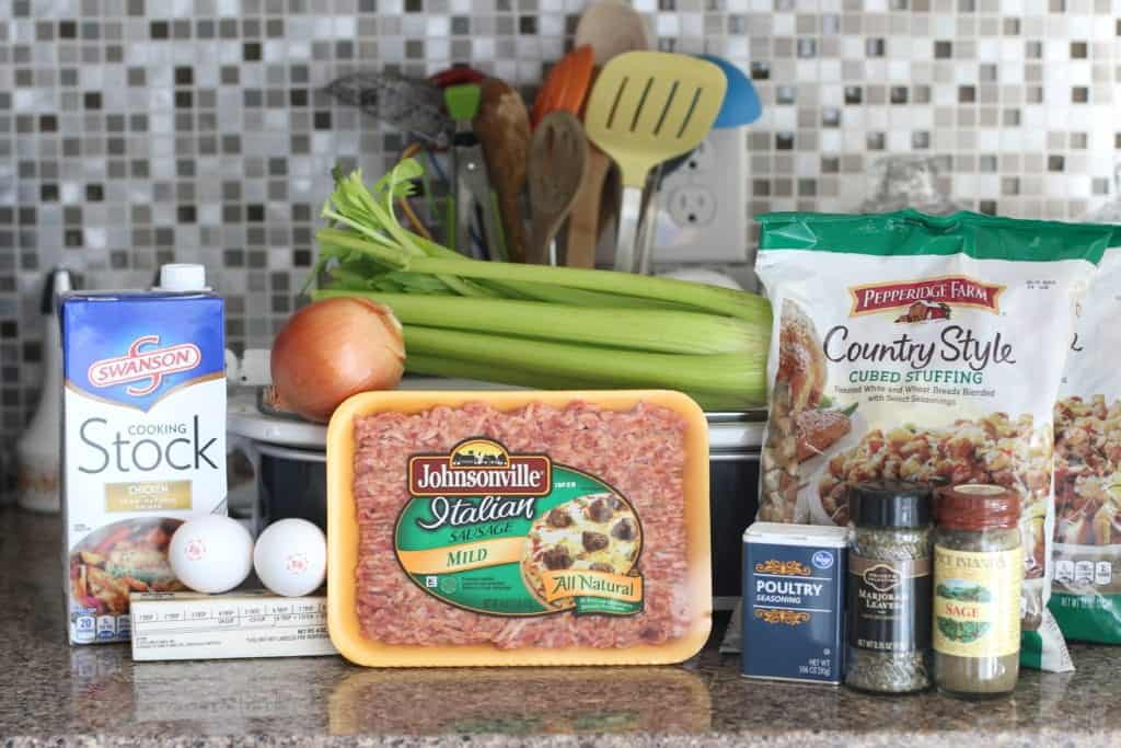 Italian ground sausage, chicken stock, stuffing mix, eggs, poultry seasoning, sage, butter