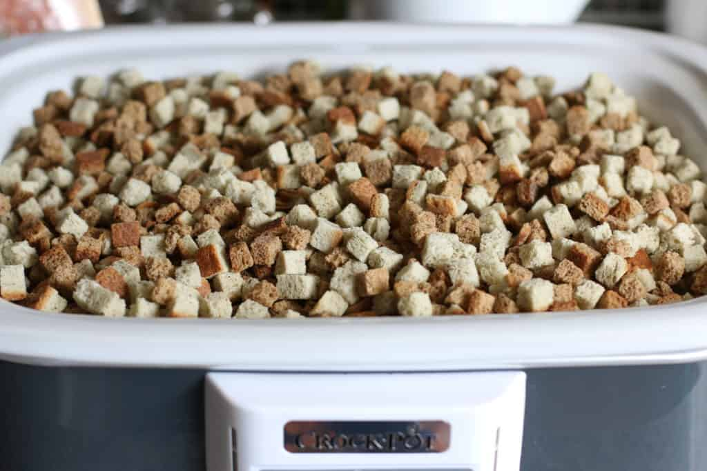 dried bread cubes in slow cooker