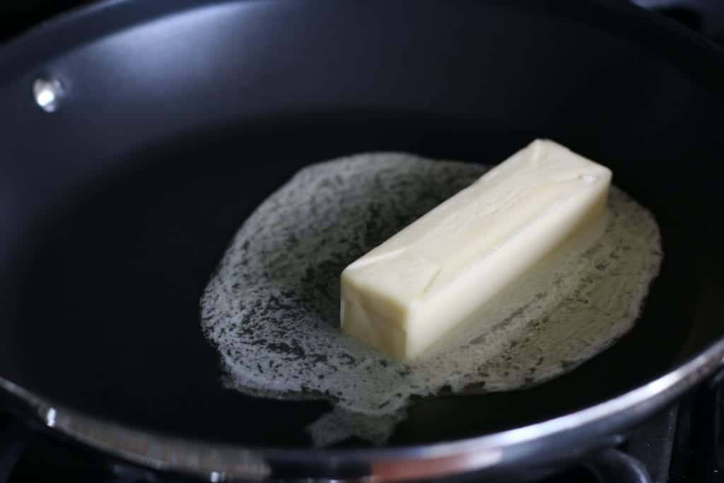 melted butter in a pan