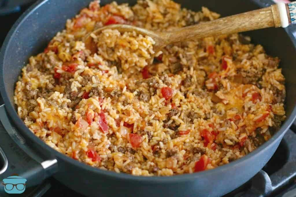 Easy One Pan Taco Rice recipe from The Country Cook