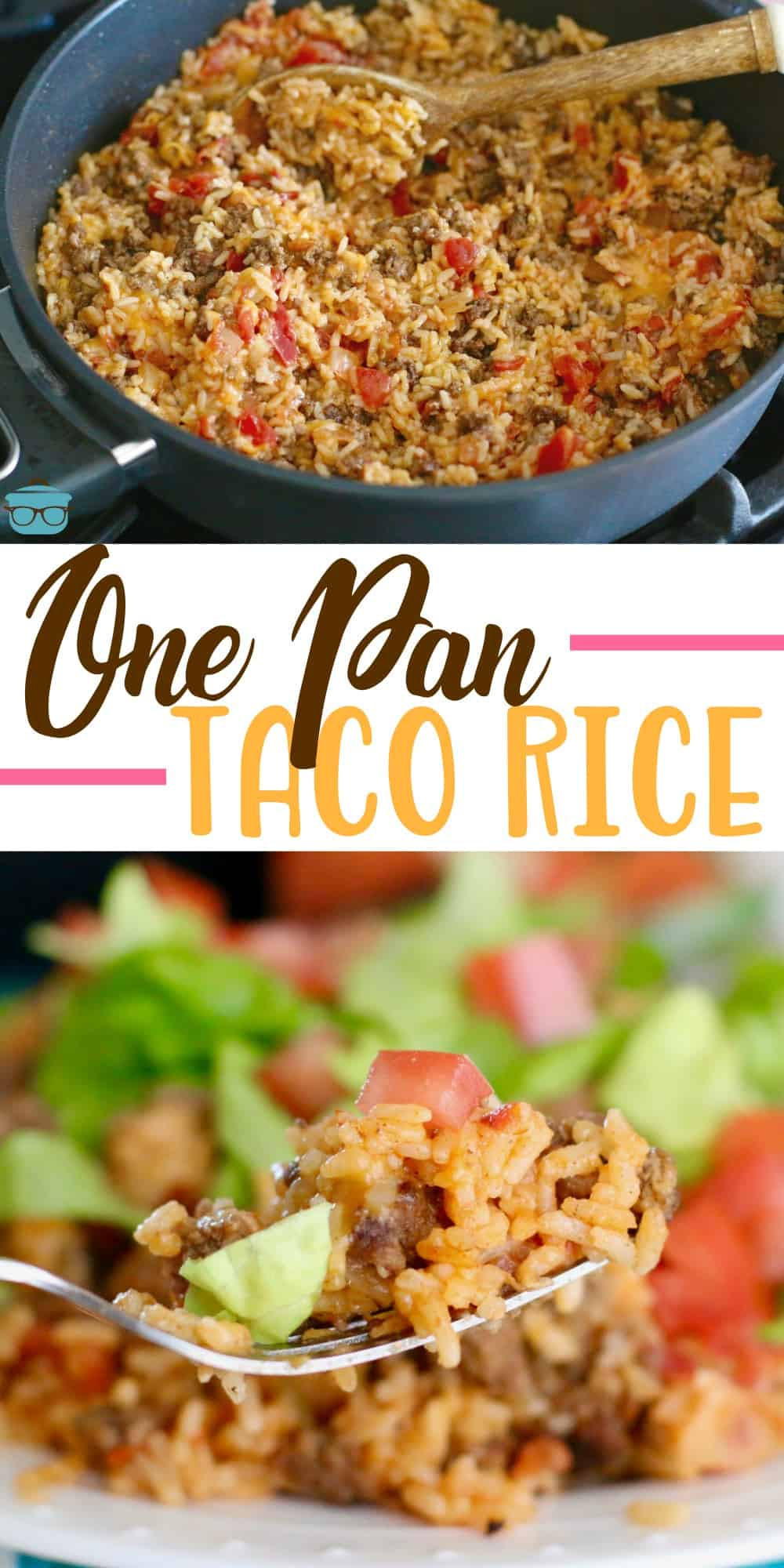 One Pan Taco Rice Dinner recipe is a whole meal in one. Ground beef, taco seasoning, salsa, rice and cheese. A family favorite meal! #tacorice #maindish #sidedish
