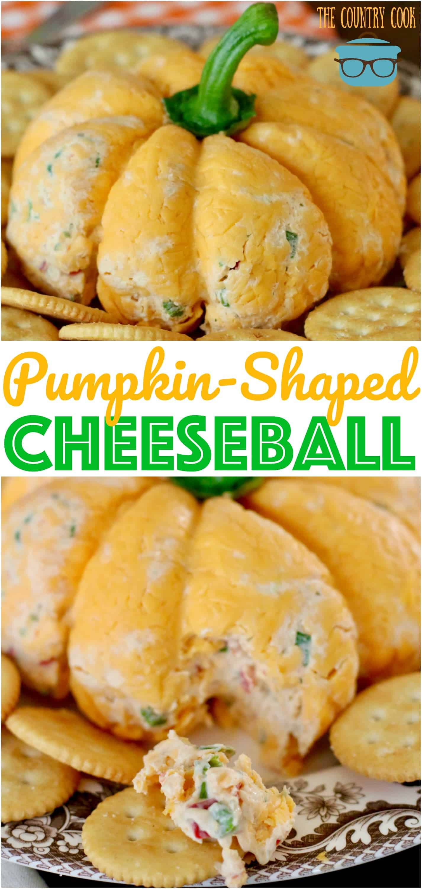 Pumpkin-Shaped Cheeseball recipe from The Country Cook #easy #recipes #appetizer #holidays #Thanksgiving #ideas #thebest #creamcheese #vegetable #entertaining