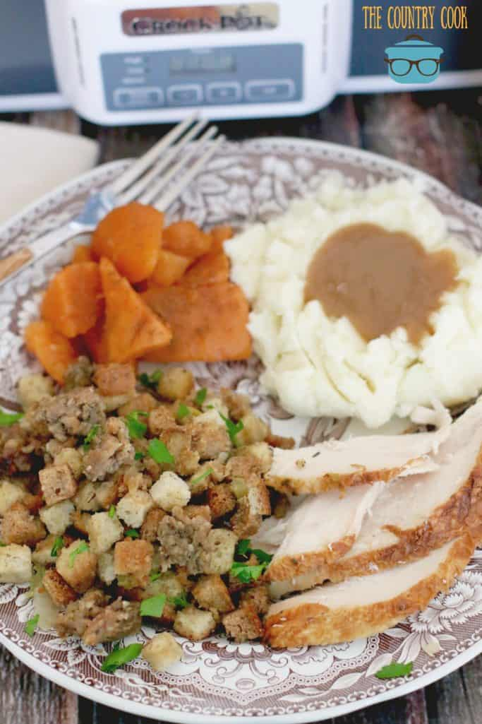 Easy slow cooker stuffing with turkey, sweet potatoes, mashed potatoes