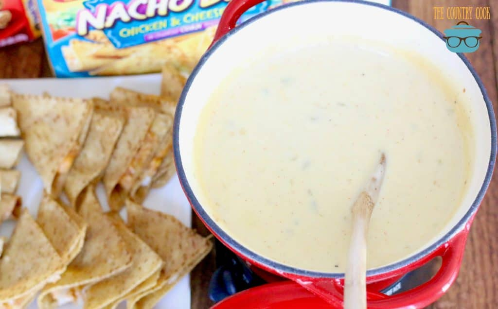 Crock Pot Restaurant Style Queso Dip with taquitos