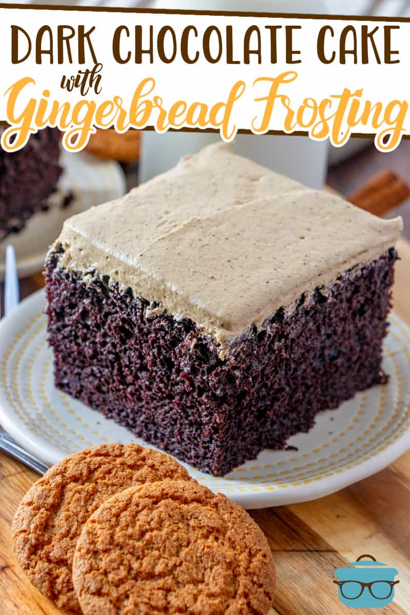 This Homemade Dark Chocolate Cake with Gingerbread Frosting is so moist and deliciously decadent! The perfect holiday dessert!