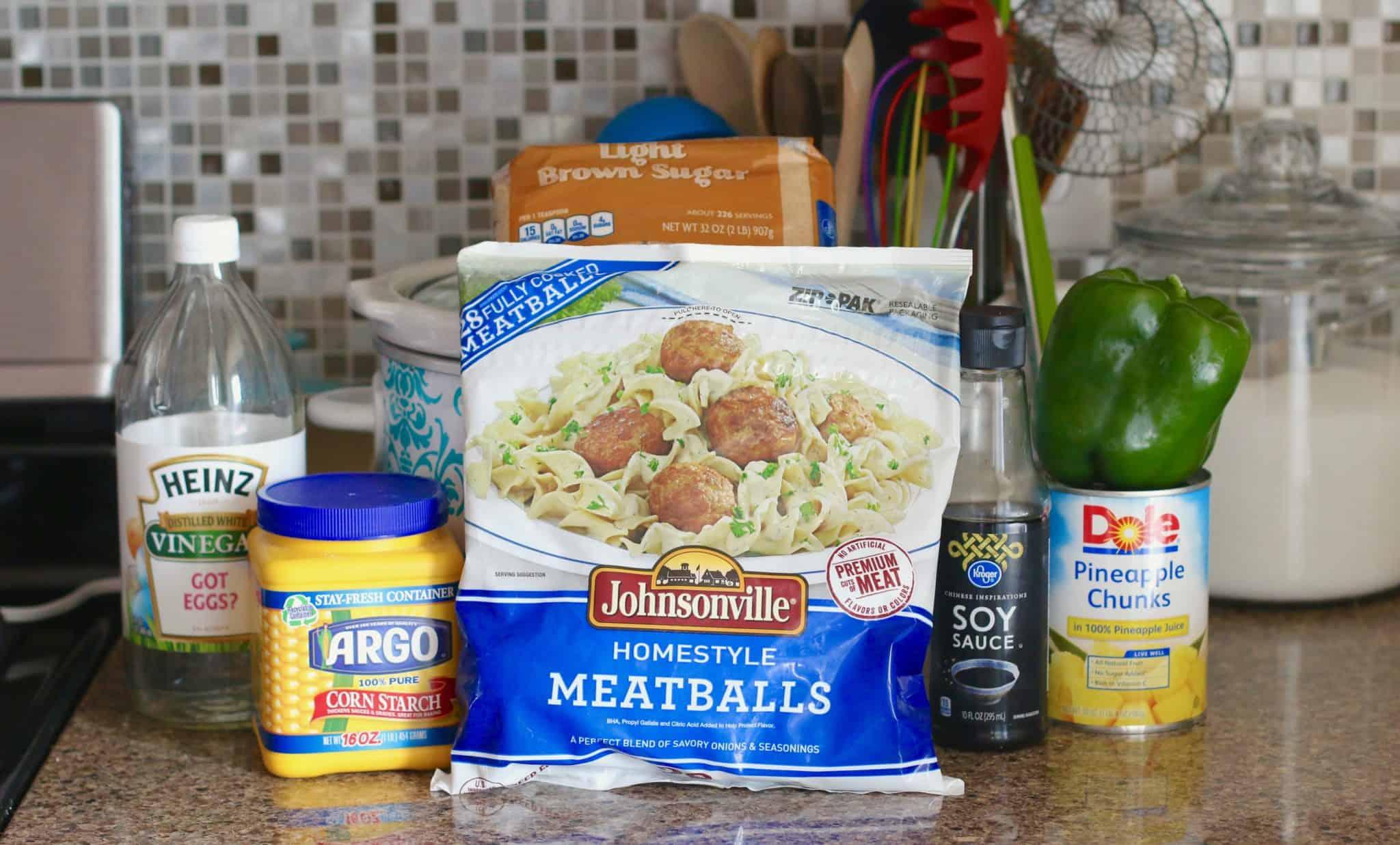 frozen meatballs, pineapple, soy sauce, brown sugar, green pepper, cornstarch.
