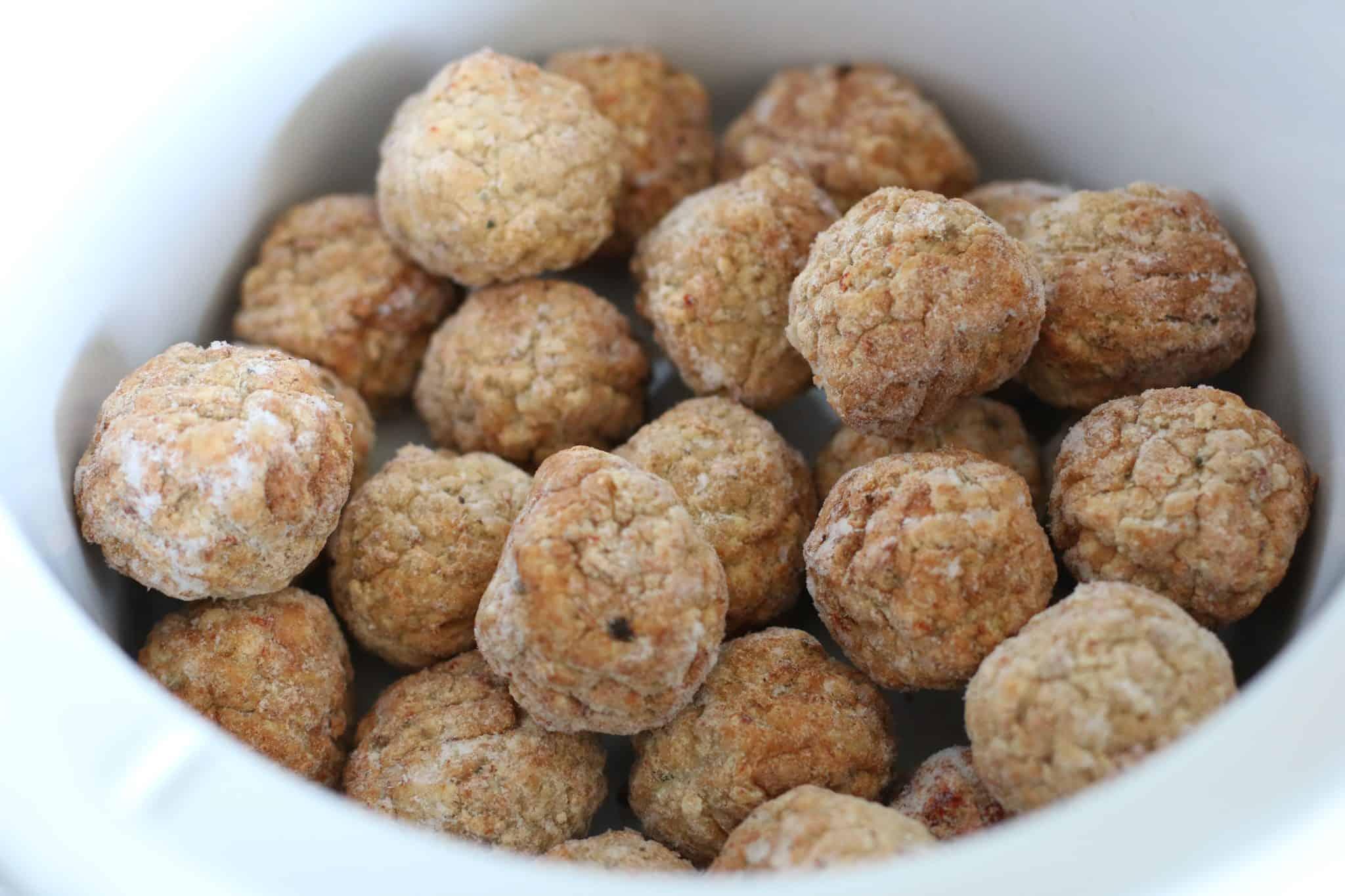 frozen meatballs in slow cooker.