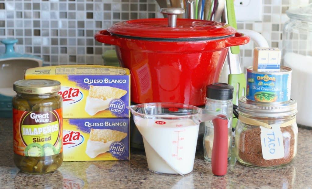 Velvet Queso Blanco, milk, jalapeños, taco seasoning, garlic powder, diced green chiles