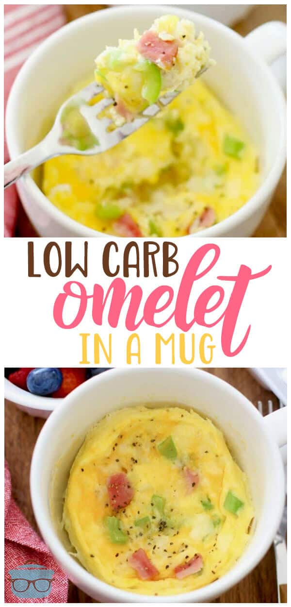 Yes you can make a low carb omelet in a mug! It is so easy and the eggs come out so light and fluffy! Make it just the way you like it! Recipe from The Country Cook #breakfast #keto