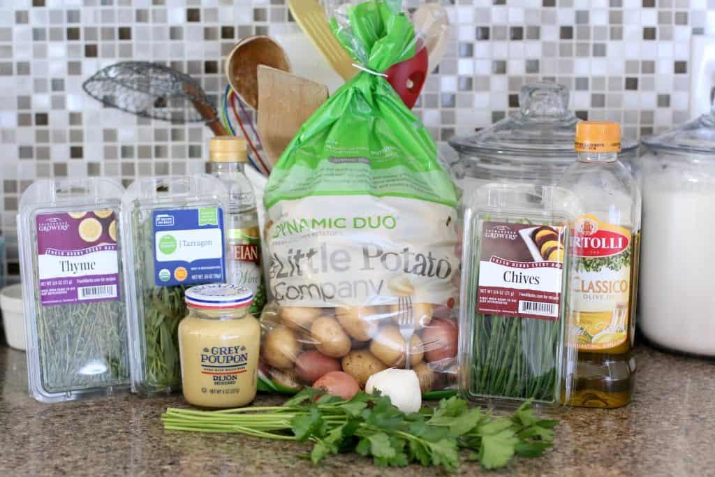Little Potatoes, mustard, herbs