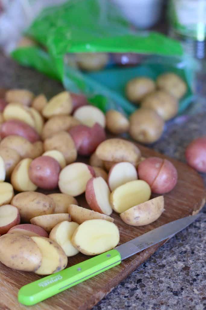 sliced little potatoes